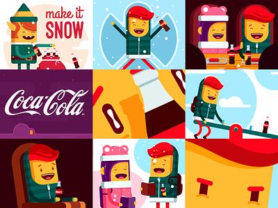 Coca-Cola GIF Language snow funnel funny girl boy christmas xmas vector flat comic cartoon gif cocacola