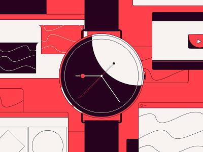 Hybrid Smartwatch smart design abstract illustration ui page site website flat time digital watch clock