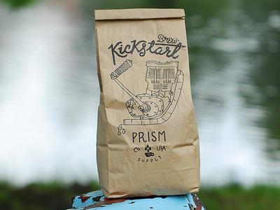 Kickstart Brew graphic design prism coffee typography type handmade illustration design