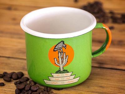 Vulture and Cactus Camp Mug graphic design texas camping mug cactus vulture handmade illustration design