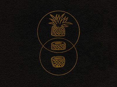 SPLIT PERSONALITY graphic design cirlce pineapple handmade illustration design