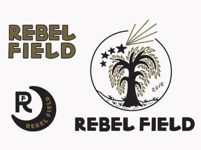 Rebel Field Branding graphic design logo branding maker moon stars tree type handmade illustration design