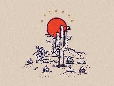 Desert Scene hand made graphic design stars succulents illustration cactus design art suns