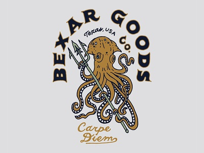 Octopus and Trident Design texas nautical illustration graphic design design octopus
