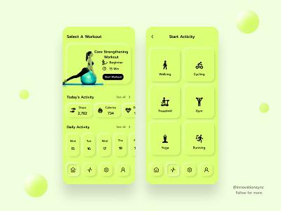 Fitness App Ui Design userexperience interface digitaldesign landingpage ux print typography productdesign appdesign uitrends flatdesign minimal mobileui uidesign graphicdesign branding webdesign illustration animation innovationsync