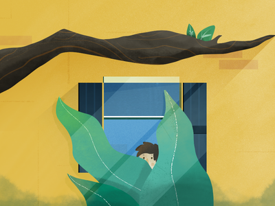 Peek-a-boo orange house shutters peek a boo window plants photoshop painting