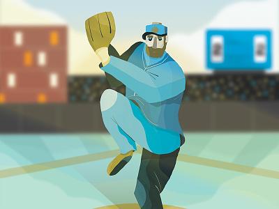 Baseball Pitcher yankees dodgers cubs design art world series pitcher baseball motion graphics digital painting editorial