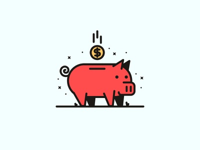 Piggy Bank coin cash design line monoweight illustration money piggy bank bank piggy pig