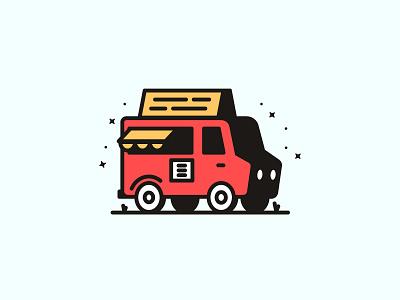 Food Truck eat fun monoweight line design illustration food truck food