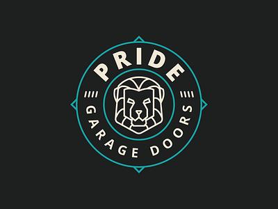 Pride Garage Doors animal oklahoma tulsa line circle badge logo design lion garage pride