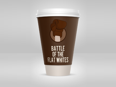 Battle of the Flat Whites flat white coffee cup coffee boxing glove