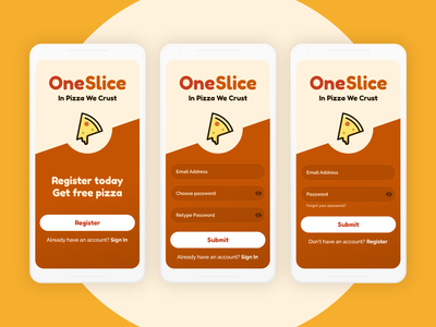 DailyUI 001 - Sign Up & Sign in pizzalogo 001 dailyui001 ui dailyui uidesign app web interface signupform register login signup pizza