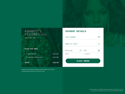 DailyUI 002 - Credit Card Checkout pizza ashanti payment credit card payment creditcard 002 dailyui 002