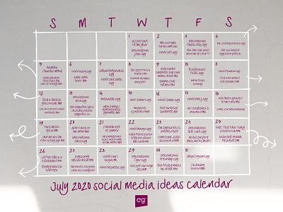 Social media calendar ideas July 2020 planner social media design instagram template typography design display font typeface fonts font design font