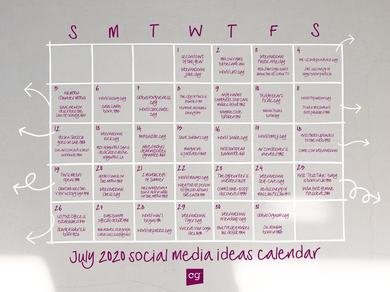 Social media calendar ideas July 2020 planner social media design instagram template typography design display font typeface fonts font design font