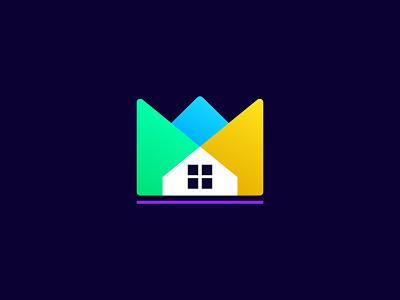 King Home logo design crown vector real estate logo web design ui logo design logo modern illustraion branding stay home home logo house logo houses house homes home king home kings king