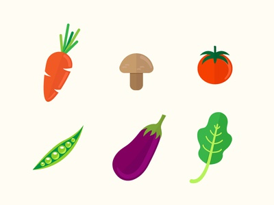 veggies illustration flat color vegetables vegetable carrot mushroom tomatoe eggplant beans arugula