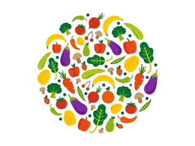 healthy diet color fruit vegetable tomatoe eggplant strawberry spinach potatoe mushroom broccoli carrot pepper