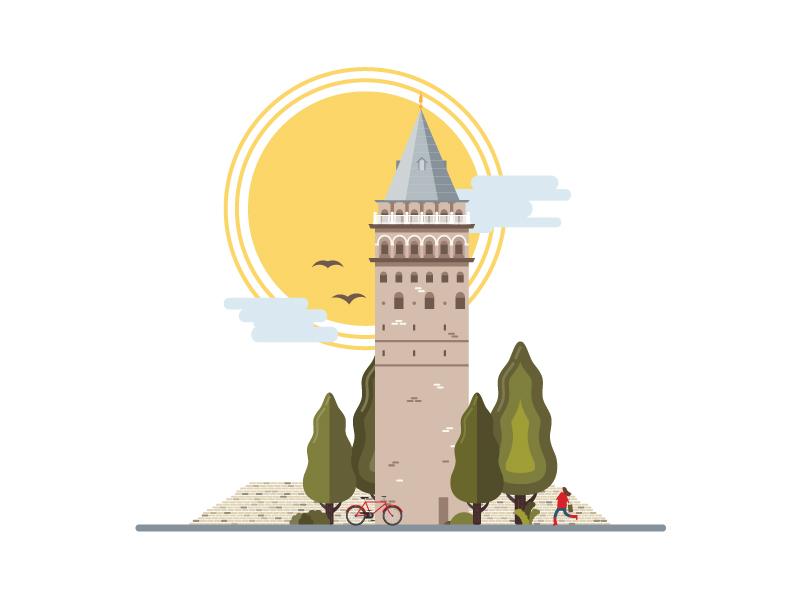Landmarks of Istanbul - Galata Tower art architecture building tower istanbul galata design digital illustration illustrator