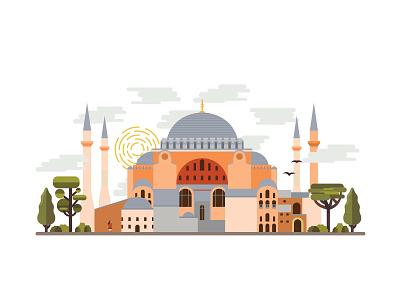 Landmarks of Istanbul - Hagia Sophia illustration hagiasophia building landmark monument architecture istanbul turkey color mosque church