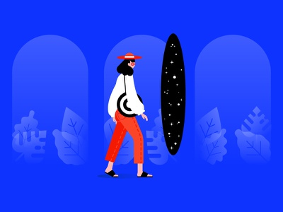 Quick Stroll Around the Galaxy fashionista fashion walk stroll space galaxy portal woman girl vector illustration color