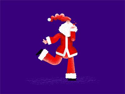 Jolly Santa vector illustration dancing happy noel kiss merry jolly santa claus new year christmas