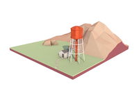 Low poly landscape with water tower