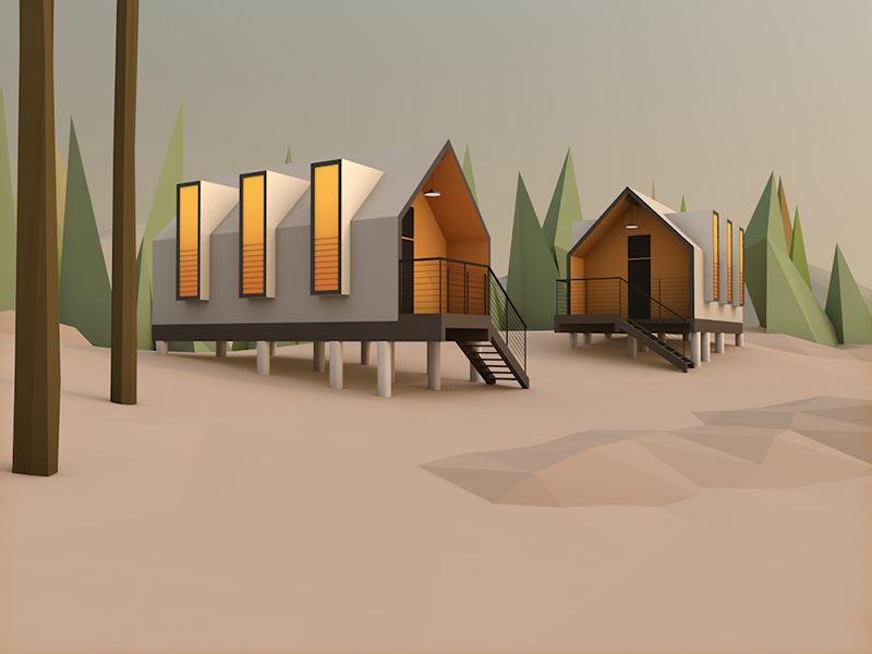 Summer cabins forest cabin house lowpoly 3d architecture environment cinema4d