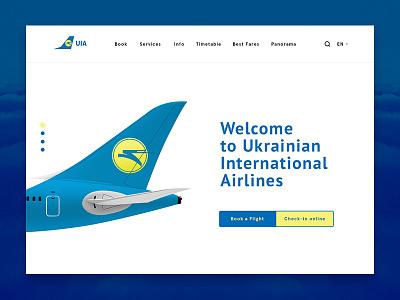 Ukrainian International Airlines  ukraine landing plane website ui ux airlines uia