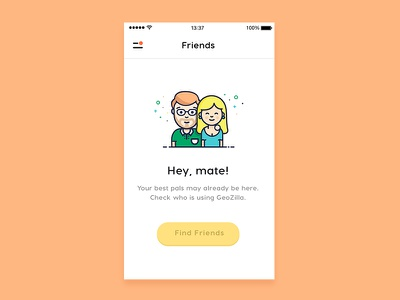 Gap screen with friends illustration ios pro gps circles family smooth peoples illustration location geozilla