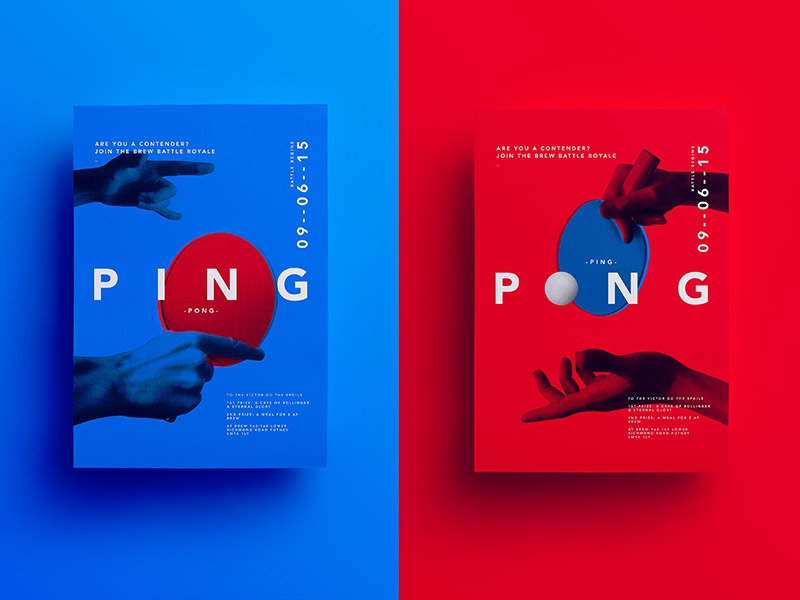 Ping pong Battle Royale table tennis ping pong hands grid poster