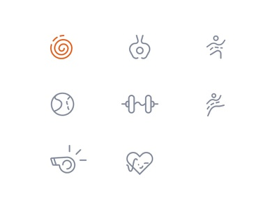Iconography for Gympik activity trainer zumba dumbell pilates physiotherapy aerobics yoga gympik icons