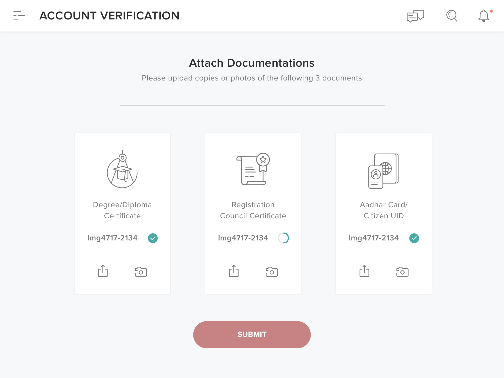 Attach documents uploading documents