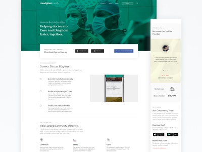 Curofy Website v3.0 care provider community curofy roundglass healthcare listing practice doctor medical