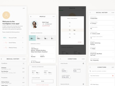 Profile Section_Cross Healthcare information architecture ux clinic care healthcare patient doctor medical roundglass health