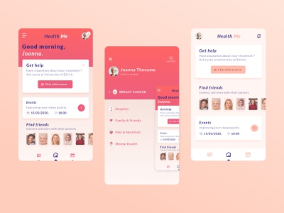 Breast Cancer • Mobile App gradient clean ui flat dayli ios iphone icon dayliui app design pink cancer mobile app mobile