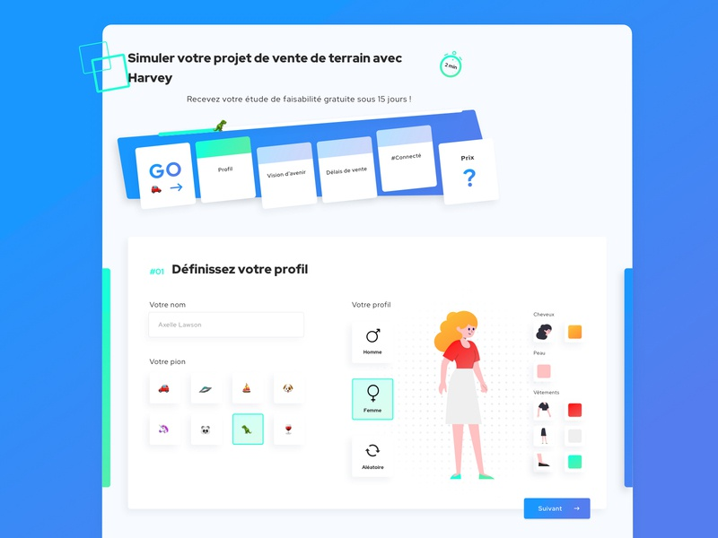 Harvey • Web Design builder estate gaming game monopoly form design form startups startup interface illustration french gradient blue webdesign clean flat ui