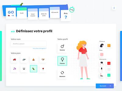 Harvey • Web Design builder estate gaming game monopoly form design form startups startup interface illustration french gradient blue webdesign clean flat ui