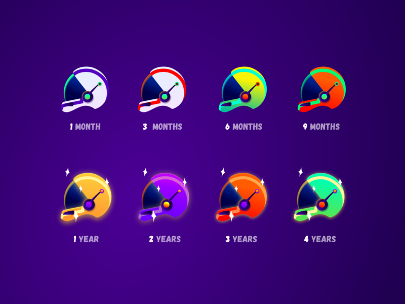 Twitch Chat Badges - Astronaut helmet astronaut space galaxy gradient daily icon icon set twitch twitchemote emote figma vector branding illustration clean flat
