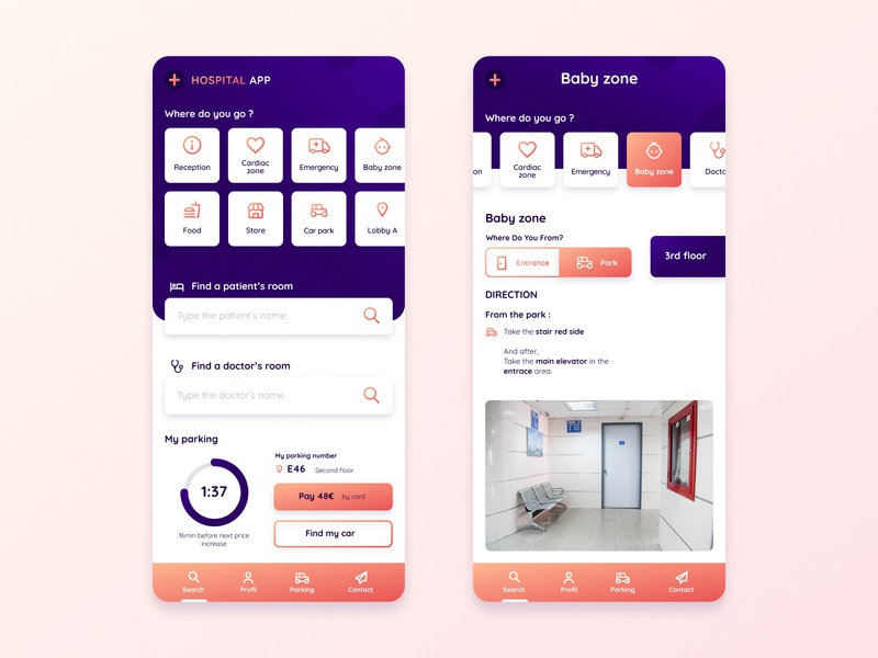 Hospital App interface mobile gradient hospital ui ux startup design app application