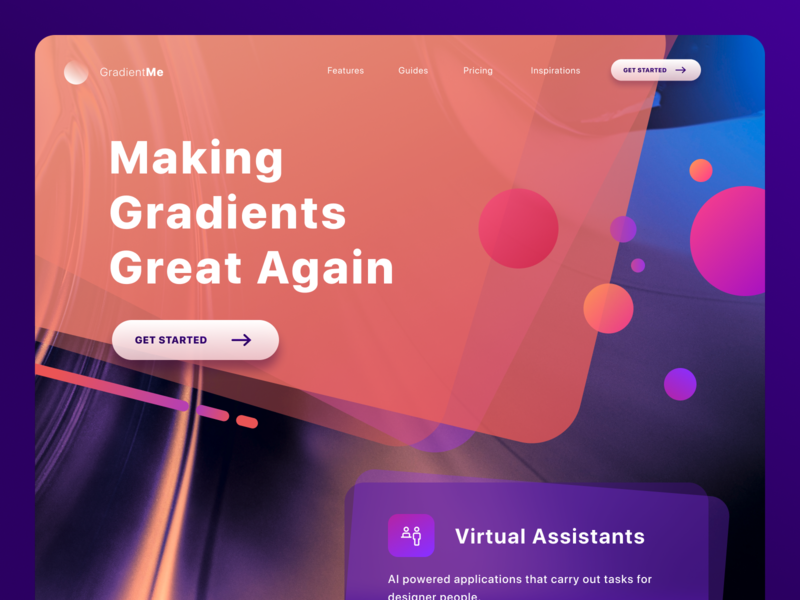 GradientMe webapp landing flat interface ux vector branding dayli gradient webdesign clean ui