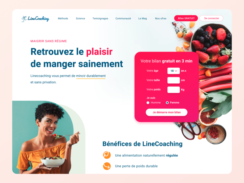 Diet Website food diet fitness healthy health ux landing page woman salad landing interface gradient ui clean webdesign