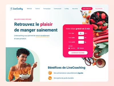 Diet Website food diet fitness healthy health ux landing page woman salad landing interface gradient ui clean webdesign