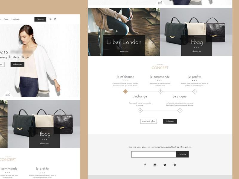 Luxury clothing  fashion black white webdesign website clothing rent