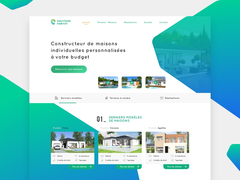 Aquitaine Habitat - Home french builder build house home green blue colors webdesign ui