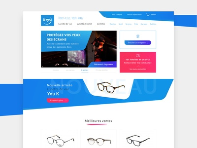 Krys - Home dayli ui webdesign colors blue red home glasses french