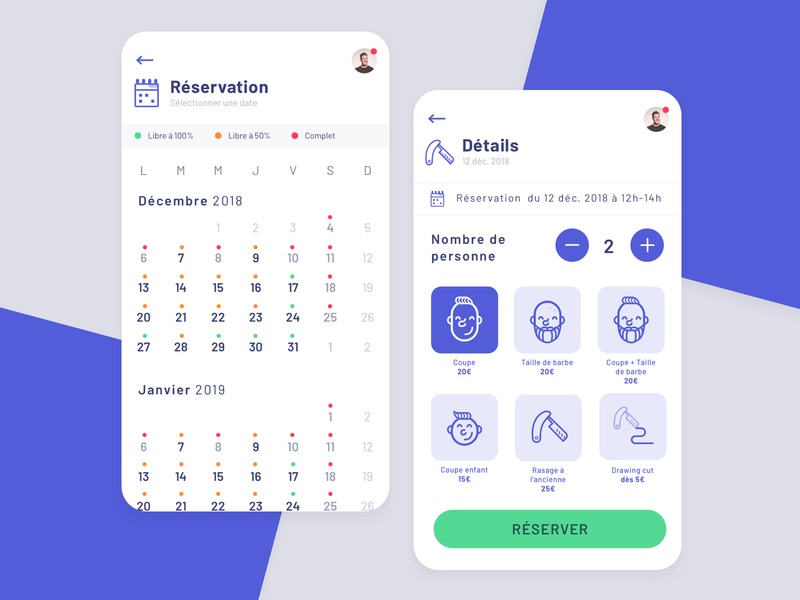 Reservation Barber Mobile razor barber calendar app booking iphone vector icon illustration mobile clean app flat blue ui