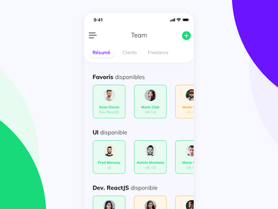 Availability management app. french dayli iphone mobile clean webdesign app flat ui
