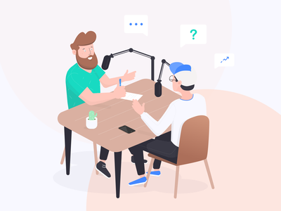 Podcast conversation cactus barber hat micro radio office character isometric illustration podcast