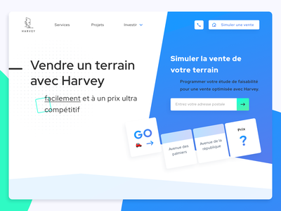 Harvey • Web Design builder monopoly gaming game branding gradient illustration french dayli clean webdesign blue flat ui estate